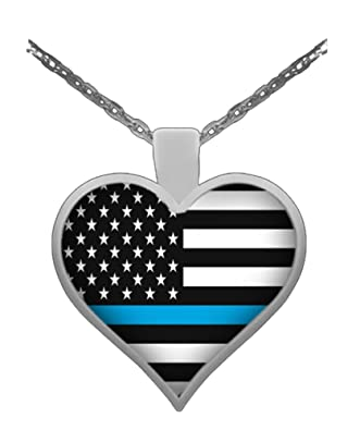 new format with blue badge police and line thin heart number wife stamped products necklace