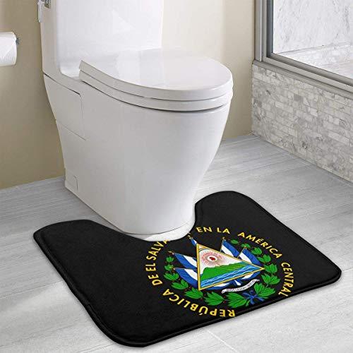 colory El Salvador Coat of Arms Toilet Carpet Anti-Slip Contour Bath Rug Carpet Mat for Toilet 19.2″x15.7″