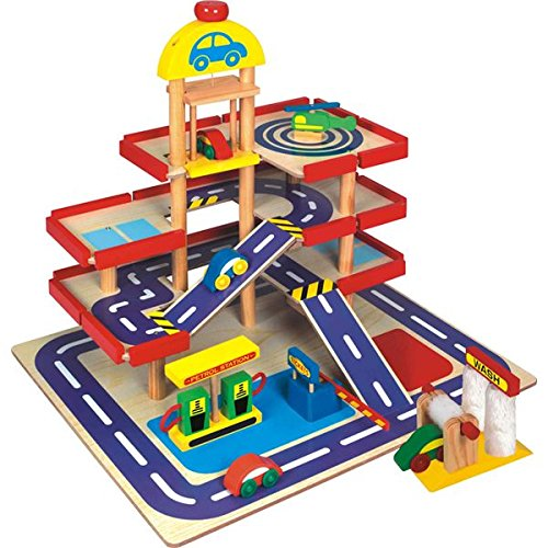 CP Toys Wooden 4 Story Parking Garage – Features 4 Wooden...