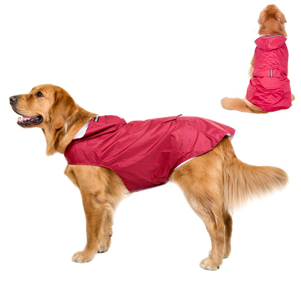 Red 6XL Red 6XL Large Dog Rain Jacket, Reflective Dog Raincoat, Lightweight Poncho Hoodies, Waterproof Breathable Rainwear for Medium-Large Dogs