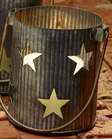 Market Street Large Metal Primitive Star Cutout Pillar and Votive Candle Holder - Country Farmhouse -