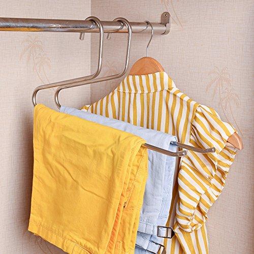 stainless steel single-layer pants rack versatile pants hanging Scarf hanger storage clothing (Adult Storea)