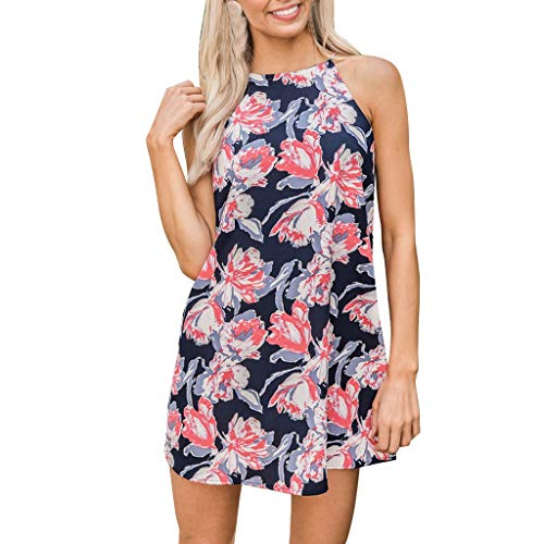 - Loosebee Womens Summer Beach Halter Neck Dress Ladies Holiday Floral Sun Tank Dresses Red