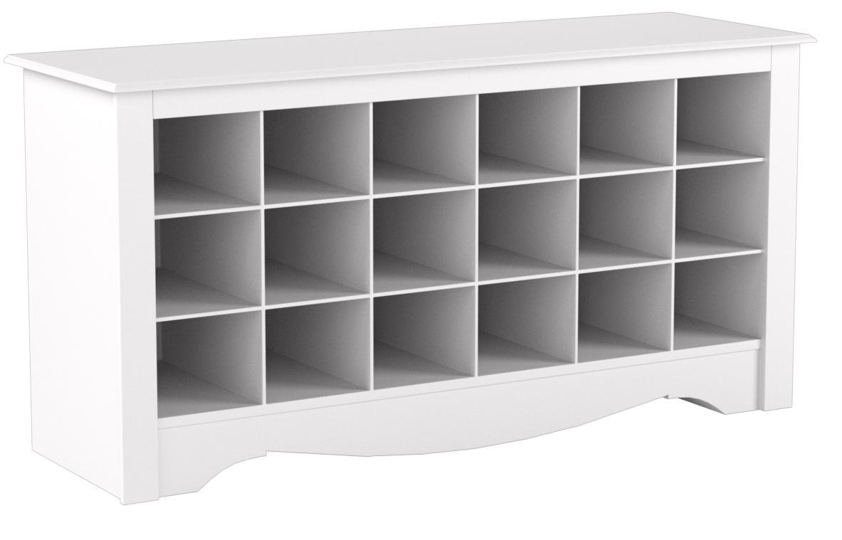 White Shoe Storage Cubbie Bench by Prepac