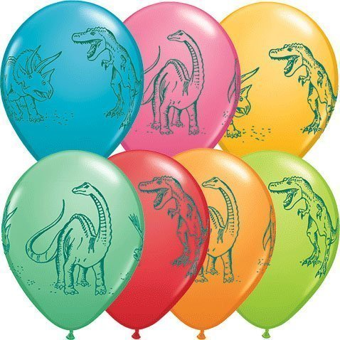 11' Dinosaurs In Action Festive Colors Latex Balloons (50 per package) by natcha fon