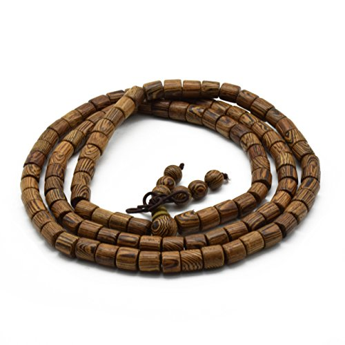 Zen Dear Unisex Natural Wenge Wood Mala Prayer Beads Necklace Bracelet Meditation Buddhist Rosary Mala Beads (6mm 108 Barrel Beads)