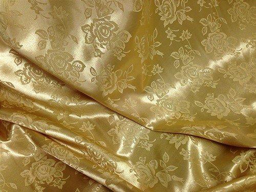 Gold Floral Satin Jacquard Brocade Fabric 60 Quot Wide Per