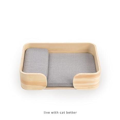 Yuan Cama para gatos-Alfombra para mascotas Caja de madera para gatos Cama para gatos