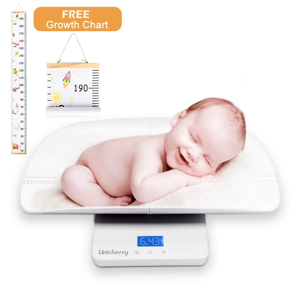 Baby Scale, Multi-Function Digital Baby Scale with Free Growth Chart to Measure Your Baby, Pets Weight Accurately. 3 Weighing Modes, Holding Function, Blue Backlight, Height Tray by Unicherry