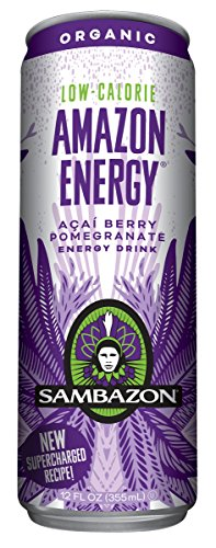Sambazon Amazon Energy Drink, Low-Calorie Acai Berry, 12 Ounce (Pack of 24)