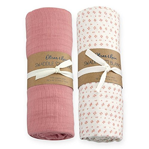 Oliver & Rain Baby Swaddle Sampler - 2-Pack Newborn 100% Organic Cotton Muslin Swaddle Blankets in Solid Dark Pink and Mini Dot Print