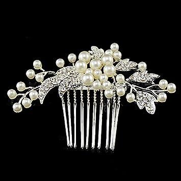 Braut haarschmuck mit perlen  Miya® 1Stück mega luxus Braut Haarkamm versilbert Steckkamm mit ...