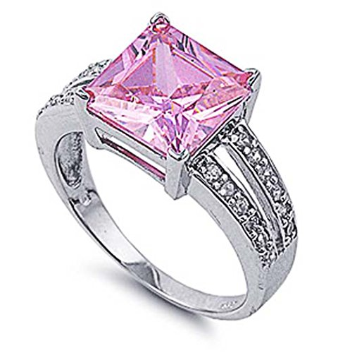 11mm Band Sterling Silver Ring (Sterling Silver Princess Cut Pink CZ Engagement Ring 11MM ( Size 5 to 10 ), 7)