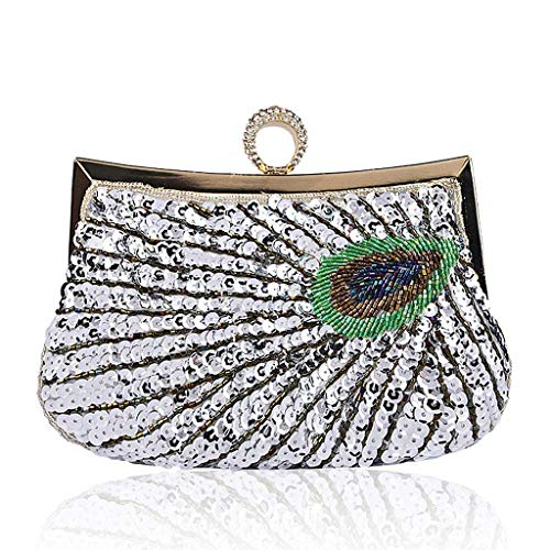 Purse Bridal Silver Wanfor Evening Wedding Peacock Beads Sequin Vintage Cocktail Wallet Clutch Bag Party wP8UFP