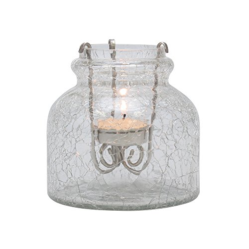 Stonebriar SB-5953A Industrial Crackle Glass Jar with Tealight Holder