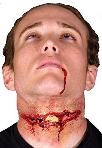 Ladies Mens Halloween Bloody Zombie Special Effects Latex Make Up Fancy Dress Costume Outfit Kit ... (Slashed Throat) -