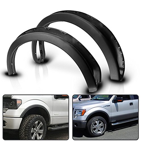 Fender Flares Fits 2009-2014 Ford F150   OE Factory Style Unpainted Black 4Pc Set Fender Flare Car Wheel Arches by IKON MOTORSPORTS   2010 2011 2012 2013