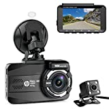 HP Dual Dash Cam for Cars Full HD 1080P Front & Rear Dashboard Camera Recorder Built-in GPS with Sony Sensor, Super Night Vision, 155 Wide Angle Lens, WDR, Loop Recording, Parking Monitor