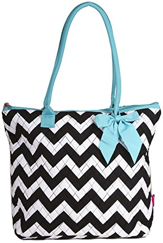 Ngil Quilted Cotton Medium Tote Bag 3 (Chevron Black (Quilted Zip Top Tote)