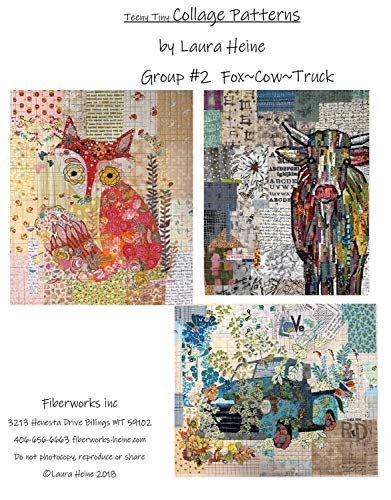 Teeny Tiny Collage Quilt Pattern Group 2 - Fox, Cow, Truck by Laura Heine
