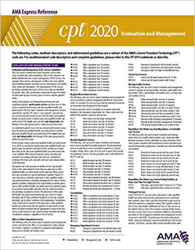 Cpt Modifiers List 2020.Evaluation And Management Cpt 2020 Express Reference Coding