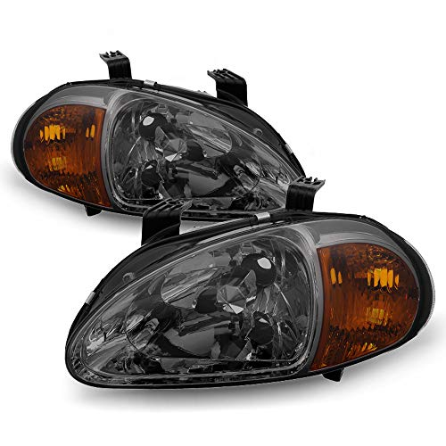 ACANII - For Smoked 1993-1997 Honda Del Sol 2in1 Headlights w/Corner Signal Head Lamps Lights Driver & Passenger Side