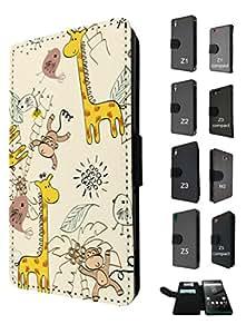935 - cool cute fun art kawai art animal cartoon monkey giraffe birds coconut Design Sony Xperia Z3 Fashion Trend TPU Leather Flip Case Full Case Flip Credit Card TPU Leather Purse Pouch Defender Stand Cover