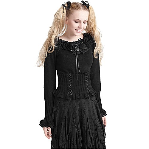Punk Devil Girl Costume (Devil Fashion Punk Women Knitted Woolen Sweaters Christmas Lolita Pullover Sweaters Slim-Fitting Black Sweater)