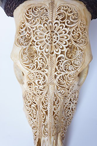 Hand Carved Cow Bone - Real Carved Cow Skull With Horns, Hand Carved Animal Skull