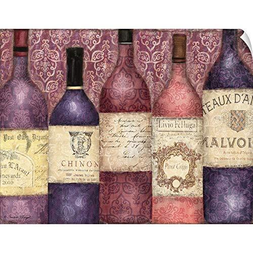 CANVAS ON DEMAND Susan Winget Wall Peel Wall Art Print Entitled Wine Bottles - Damask Pattern 36