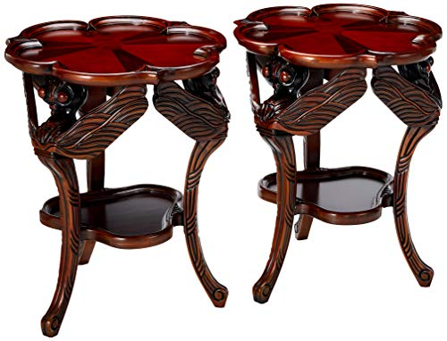 - Design Toscano Hardwood Traditional Dragonfly Occasional Table: Set of Two, Cherry