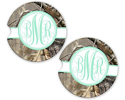 (BrownInnovativeMedia Mint Olive Ribbon Camo Personalized Monogram Sandstone Car Cup Holder Matching Coaster Set )