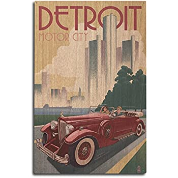 Lantern Press Detroit, Michigan - Vintage Car and Skyline (10x15 Wood Wall Sign, Wall Decor Ready to Hang)