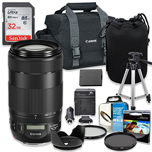 Professional Accessory Kit with Canon EF 70-300mm f/4-5.6 IS II USM Lens & Canon 300-DG Shoulder Bag + SanDisk 32GB Class 10 Memory + Bundle Package for Canon EOS T6, T5, T3, 1300D, 1200D, 1100D DSLRs