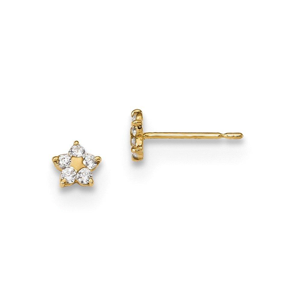 14K Yellow Gold Madi K CZ Star Children Post Earrings