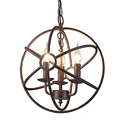 "Industrial Adjustable Wrought Iron Vintage Retro Pendant Light - LITFAD 22"" Edison Metal Globe Shade Hanging Ceiling Light Cage Chandelier Pendant Lamp Fixture Black Finish with 8 Lights"