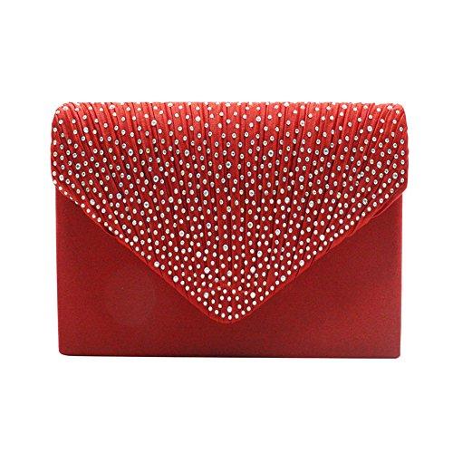 Red Bags Purse Bridal Weddings Evening for Handbag Clutch Womens Rhinestone CxwqPz6gO
