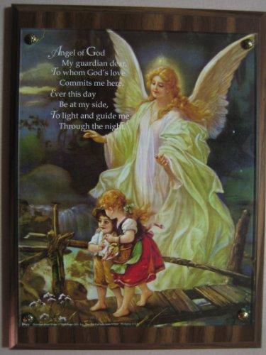 9 X 12 Walnut/Acrylic 'Guardian Angel' Wall Plaque