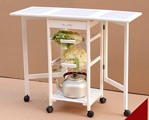 FCH 4-Tier Folding Kitchen Trolley Cart Rolling Cart, With Drawer & Shelves&Stand CounterTop Table, Easy Moving Lockable Wheels, 29.52'' x 14.57'' x 36'', White by FCH