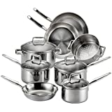 T-fal Stainless Steel Cookware, Multi-Clad, Dishwasher Safe and Oven Safe Cookware Set, Tri-Ply Bonded, 12-Piece, Silver, Model E469SC