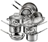 T-fal Cookware Set, Pots and Pans Set, 12 Piece, Stainless Steel, Silver