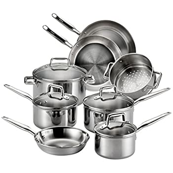 Image of T-fal Stainless Steel Cookware, Multi-Clad, Dishwasher Safe and Oven Safe Cookware Set, Tri-Ply Bonded, 12-Piece, Silver, Model E469SC Home and Kitchen