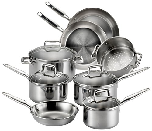 T-fal Stainless Steel Cookware, Multi-Clad, Dishwasher Safe and Oven Safe Cookware Set, Tri-Ply Bonded, 12-Piece, Silver, Model E469SC Burnt Stainless Steel Pot