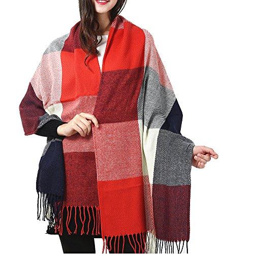 Marvel O Bug Warm Women's Fashion Long Shawl Big Grid Winter Warm Lattice Large Scarf