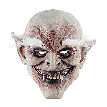 KYX-GAOMOUREN Máscara Decorativa De Halloween Frente Blanco Demonio De Terror Viejo Demonio Máscara Casa