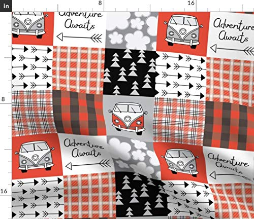 - Adventure Awaits Cheater Quilt Fabric - Vans Red And Black Quilting Whole Cloth Top Camper Van Vintage Wholecloth Print on Fabric by the Yard - Velvet for Upholstery Home Decor Bottomweight Apparel