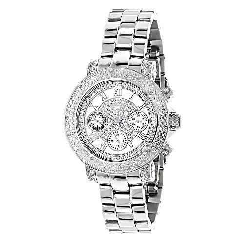 (LUXURMAN Montana Real Diamond Watch for Women with Swiss Quartz Movement Stainless Steel Band 0.3ct)