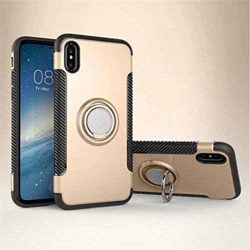 Case for Iphone 8/7 funda protectora anillo de rotación de 360 grados función atril cubierta protectora funda metalizada para iPhone 8/7 (GOLD, iPHONE ...