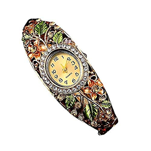 Noopvan Fashion Luxury Women Retro Diamond Bracelet Watch Women Bangle Crystal Flower Bracelet Quartz Watch Wristwatc (Gold)