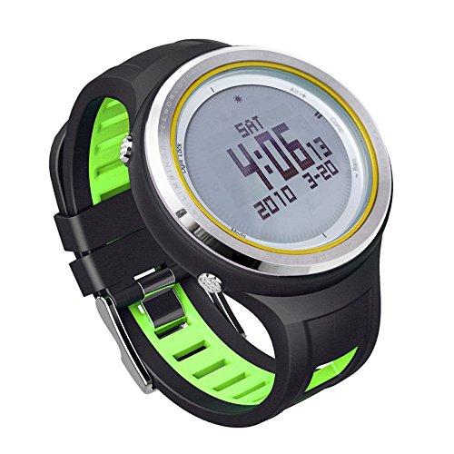 YFS SUNROAD 腕時計 気圧計 天気予報 温度計 歩数計 多機能スポーツウォッチ ハイキング 登山 運動 男女兼用 グリーン B07239RM6Z